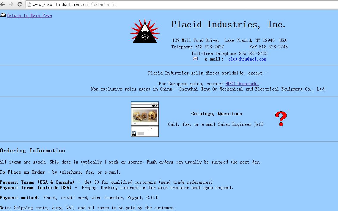 Placid Industries工厂授权上海航欧机电设备有限公司中国区代理(Non-exclusive)